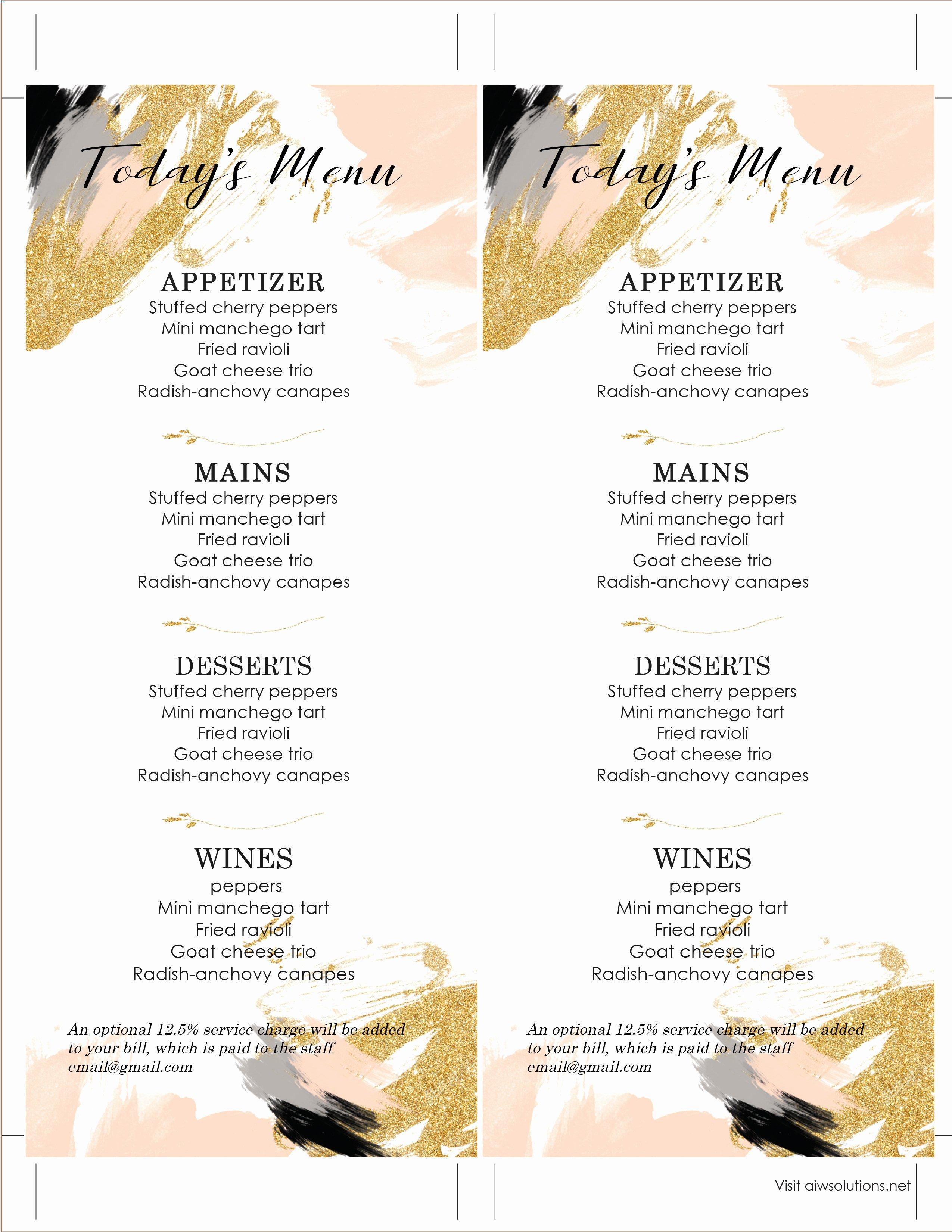 Wedding Bar Menu Template Lovely Design & Templates Menu Templates Wedding Menu Food