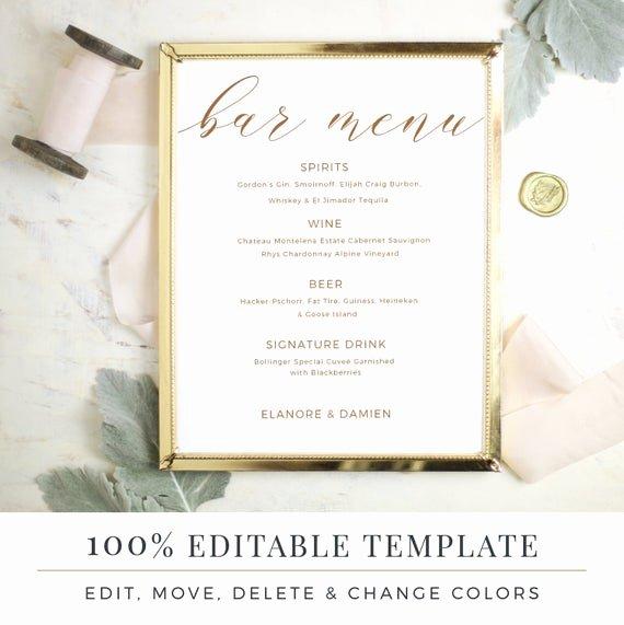 Wedding Bar Menu Template New Wedding Bar Menu Template Editable Bar Menu Printable Word