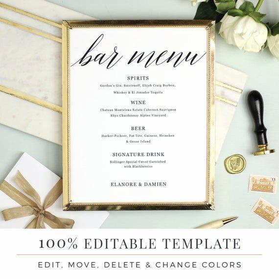 Wedding Bar Menu Template Unique Wedding Bar Menu Template Editable Bar Menu Printable Word