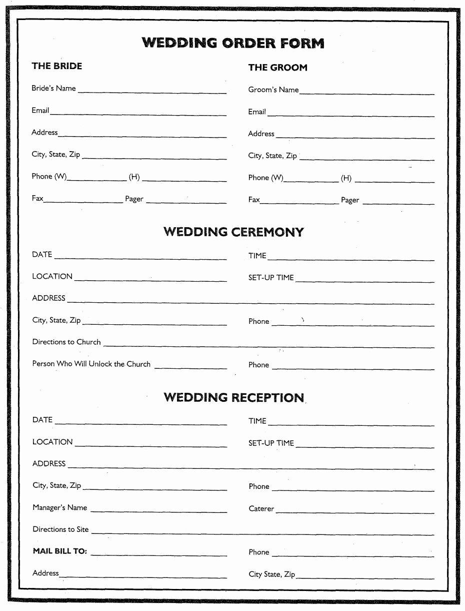 Wedding Cake order form Awesome Wedding Flower Planner Wedding order form