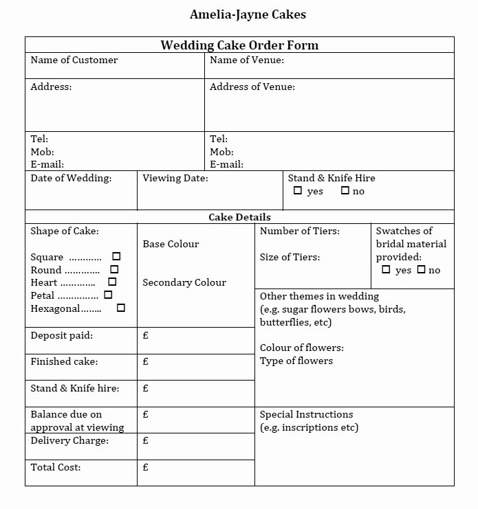 Wedding Cake order form Elegant Wedding Cake order form Idea In 2017