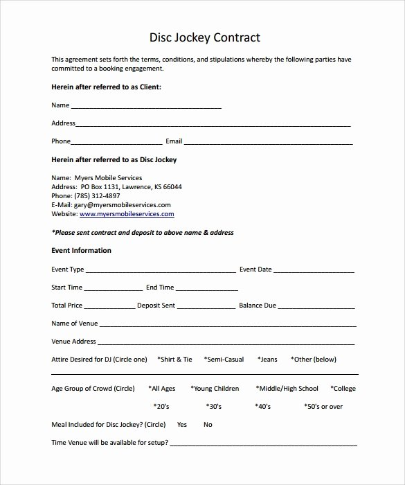 Wedding Dj Contract Pdf Awesome Dj Contract 12 Download Documents In Pdf