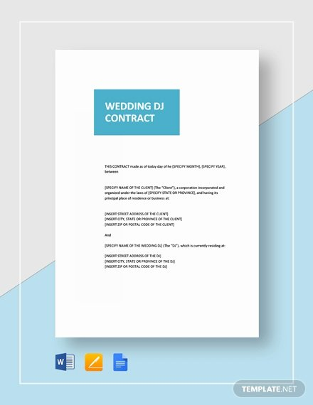 Wedding Dj Contract Pdf Best Of 11 Best Wedding Contract Templates Ms Word Google Docs Apple Pages Pdf