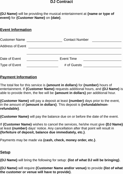 Wedding Dj Contract Pdf Best Of Download Dj Contract Template for Free formtemplate