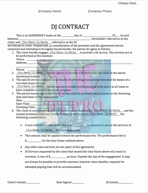 Wedding Dj Contract Pdf Fresh Dj Contract Template and event form Free Fillable Pdf