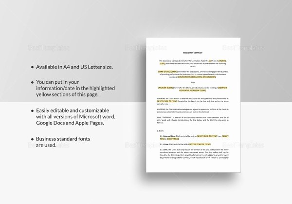 Wedding Dj Contract Pdf Inspirational Dj Contract 16 Free Word Pdf Documents Download