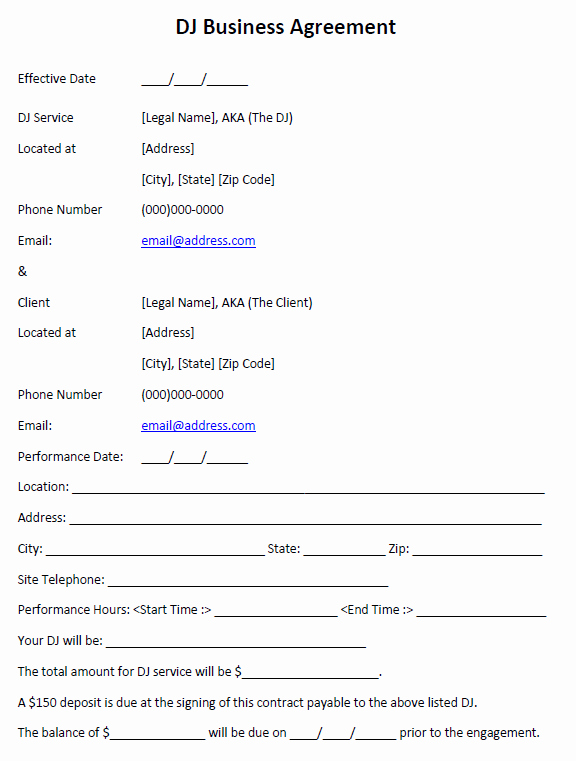Wedding Dj Contract Pdf Lovely Dj Business Agreement Printable Agreements Dj Agreement Real State