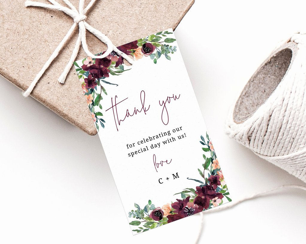 Wedding Favor Thank You Tag Awesome Burgundy Wedding Favor Tag Template Thank You Tag Wedding Favor Labe