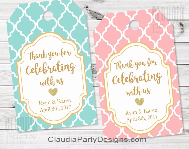 Wedding Favor Thank You Tag Beautiful Unique Personalized Party Printables Claudia Party Designs