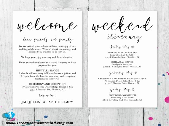 Wedding Hotel Welcome Letter Template Beautiful Diy Wedding Wel E Bag Note Wel E Bag Letter Printable