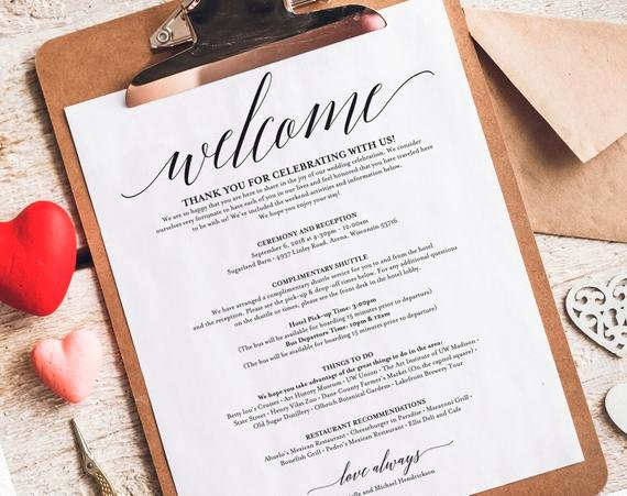 Wedding Hotel Welcome Letter Template Best Of Wedding Itinerary Wel E Bag Printable Itinerary Wel E