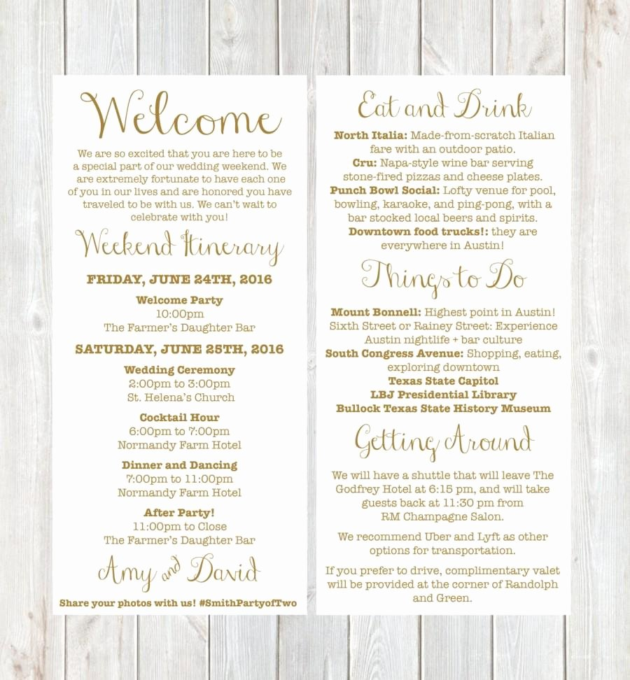 Wedding Hotel Welcome Letter Template Best Of Wel E Letter Weekend Itinerary Wedding Itinerary Gold Wel E Letter Destination Wedding