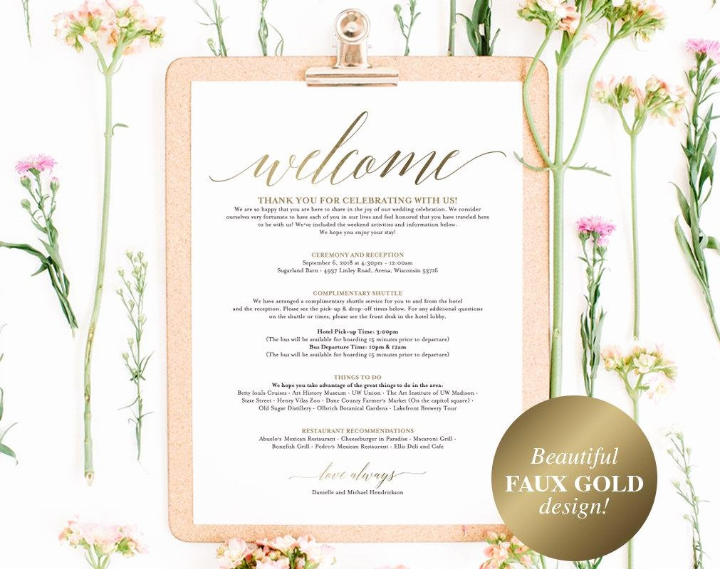 Wedding Hotel Welcome Letter Template Elegant Faux Gold Wedding Itinerary Template Wedding Wel E Letter Wedding – Bliss Paper Boutique