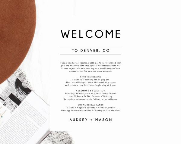 Wedding Hotel Welcome Letter Template Elegant Wel E Letter