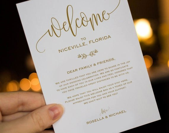 Wedding Hotel Welcome Letter Template Inspirational Gold Wedding Wel E Bag Note Wel E Bag Letter Wedding