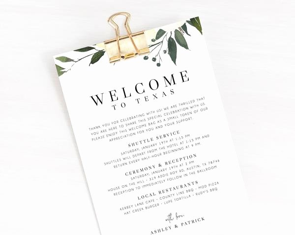 Wedding Hotel Welcome Letter Template New Wel E Letter Template Wedding Itinerary Card Wel E Bag Letter W