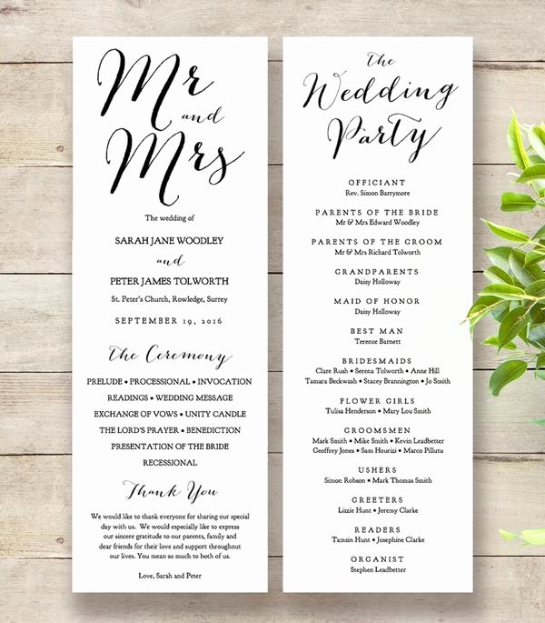 Wedding orders Of Service Template Awesome Sweet Bomb Printable Wedding order Of Service Template Connie & Joan