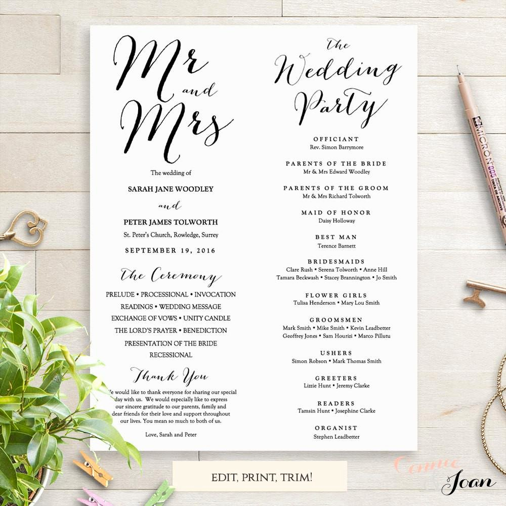 Wedding orders Of Service Template Elegant byron Printable Wedding order Of Service Template Connie & Joan