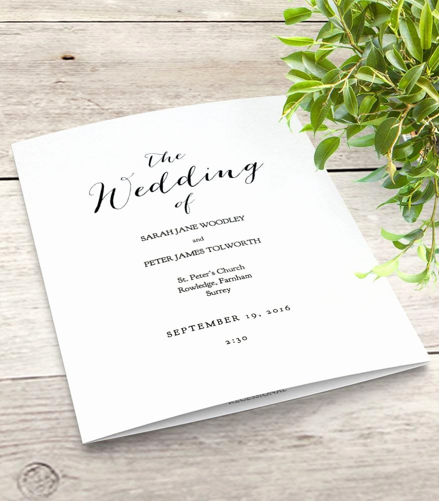 Wedding orders Of Service Template Elegant Sweet Bomb Printable Folded Wedding order Of Service Template Connie & Joan