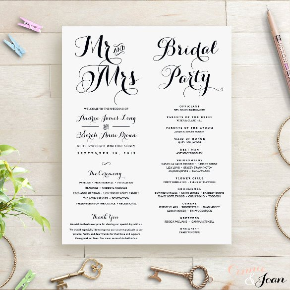 Wedding orders Of Service Template Elegant Wedding order Template – 38 Free Word Pdf Psd Vector format Download