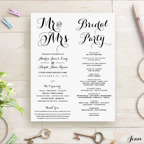 Wedding orders Of Service Template Elegant Wedding order Template – 38 Free Word Pdf Psd Vector format Download