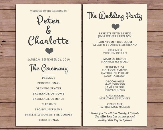 Wedding orders Of Service Template Elegant Wedding Program order Service by Darlingpaper Pany On