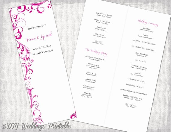 Wedding orders Of Service Template Fresh A4 Wedding order Of Service Template Begonia Pink