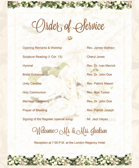 Wedding orders Of Service Template Inspirational 16 Wedding order Of Service Templates – Free Sample Example format Download