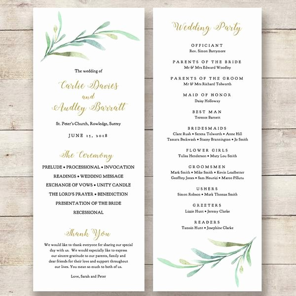 Wedding orders Of Service Template Inspirational Greenery Wedding Program Template Greenery Wedding order