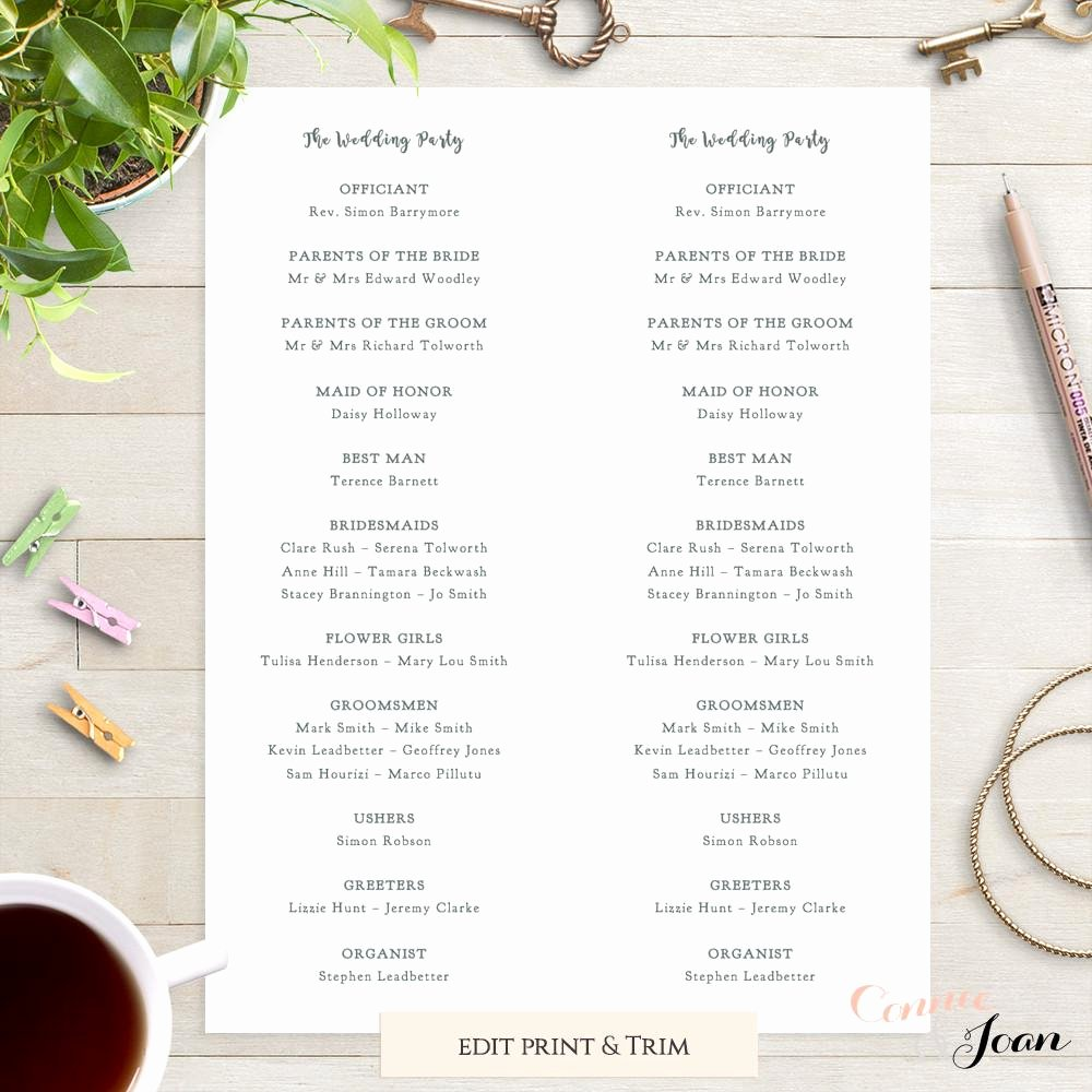 Wedding orders Of Service Template Inspirational Rustic Printable Wedding Program order Of Service Template Connie & Joan