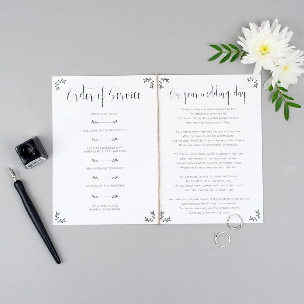 Wedding orders Of Service Template Lovely Wedding order Of Service Templates Hitched