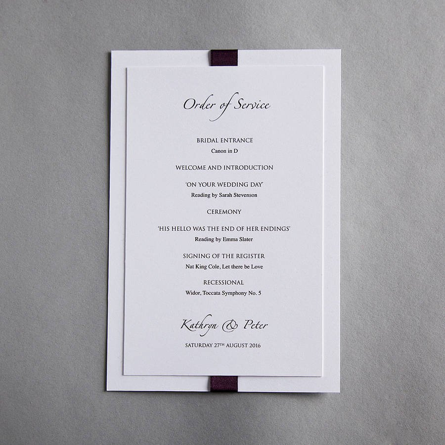 Wedding orders Of Service Template Luxury Elegance Wedding Invitation by Twenty Seven