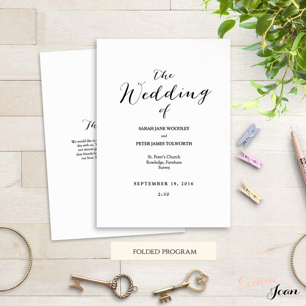Wedding orders Of Service Template Luxury Sweet Bomb Printable Folded Wedding order Of Service Template Connie & Joan