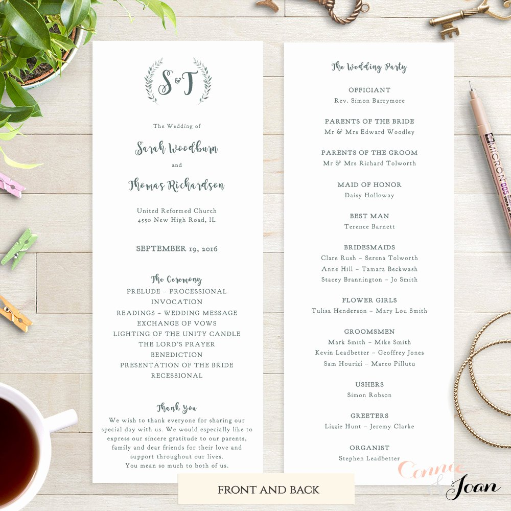 Wedding orders Of Service Template Luxury Wedding Program Template Printable order Of Service