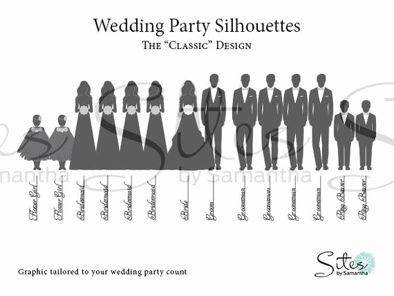 Wedding Party Lineup Template Elegant Items Similar to Wedding Party Silhouettes the Classic Design Digital File On Etsy