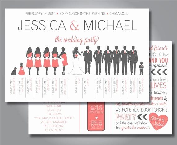 Wedding Party Lineup Template Inspirational Silhouette Wedding Program Wedding Party Program Horizontal