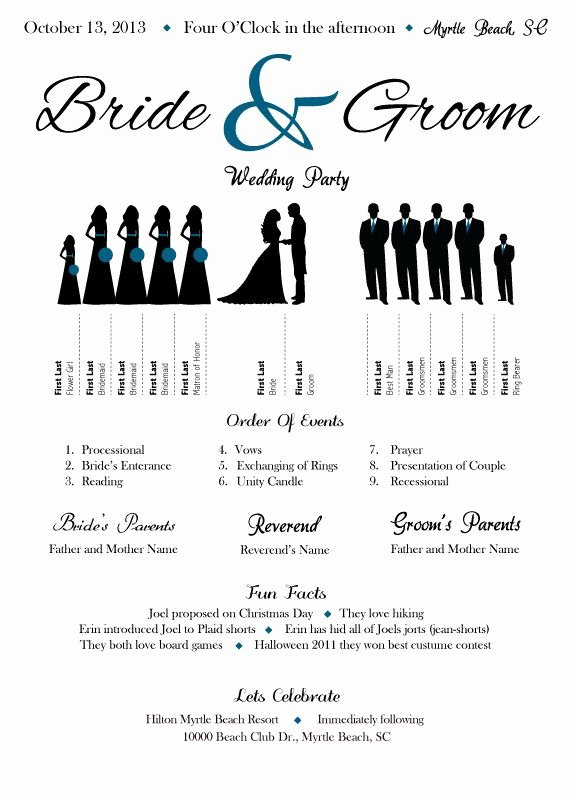"Wedding Party Lineup Template Lovely Wedding Program Silhouette Would Add ""explanation Of How they Know Bride Groom"" Along with Place"