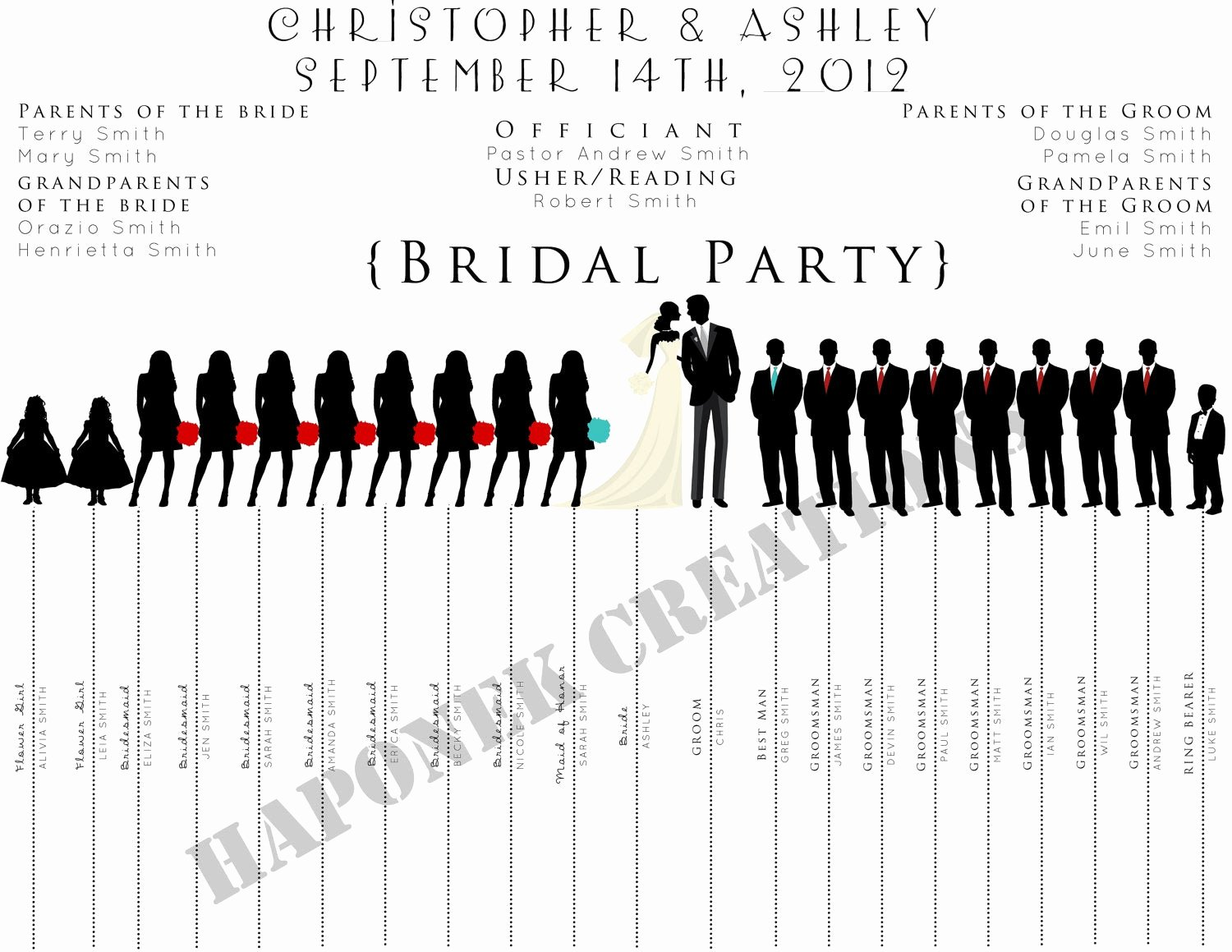 Wedding Party Lineup Template Luxury Items Similar to Fun Wedding Program Wedding Party Silhouette Template On Etsy