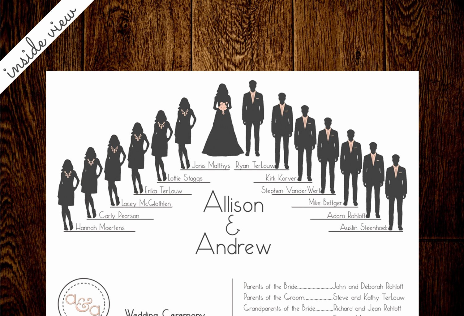 Wedding Party Lineup Template Unique Silhouette Wedding Program by Inhuisdesigns On Etsy