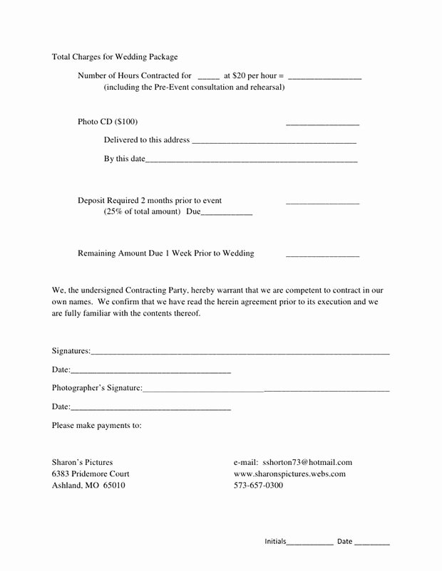 Wedding Photography Contract Pdf Best Of 5 Free Wedding Graphy Contract Templates