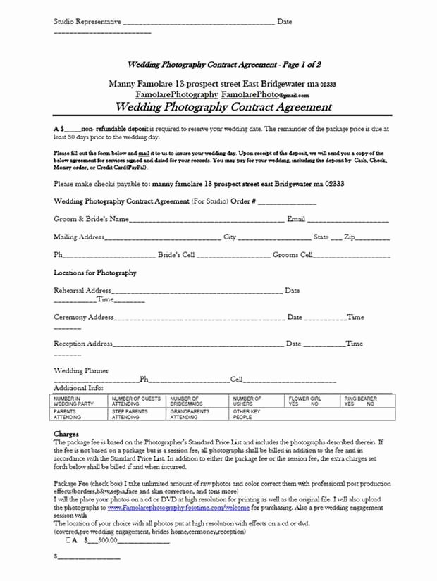 Wedding Photography Contract Pdf Best Of Contract form – Guatemalago