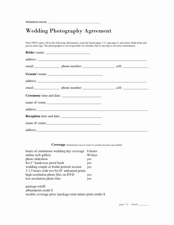 Wedding Photography Contract Pdf Elegant Free 11 Wedding Planner Contract Template In Pdf