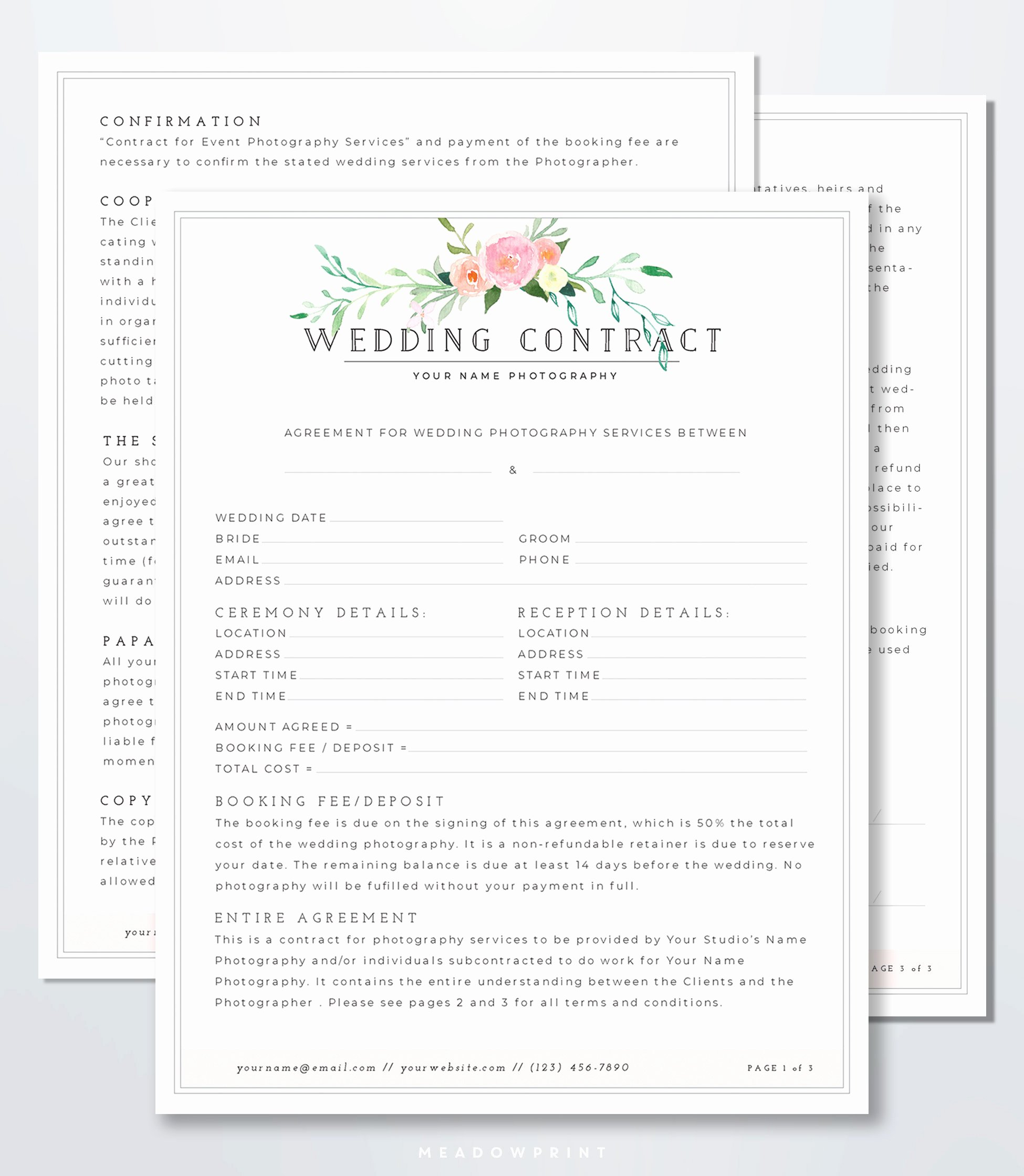Wedding Photography Contract Pdf Elegant Wedding Graphy Contract Template Client Booking form