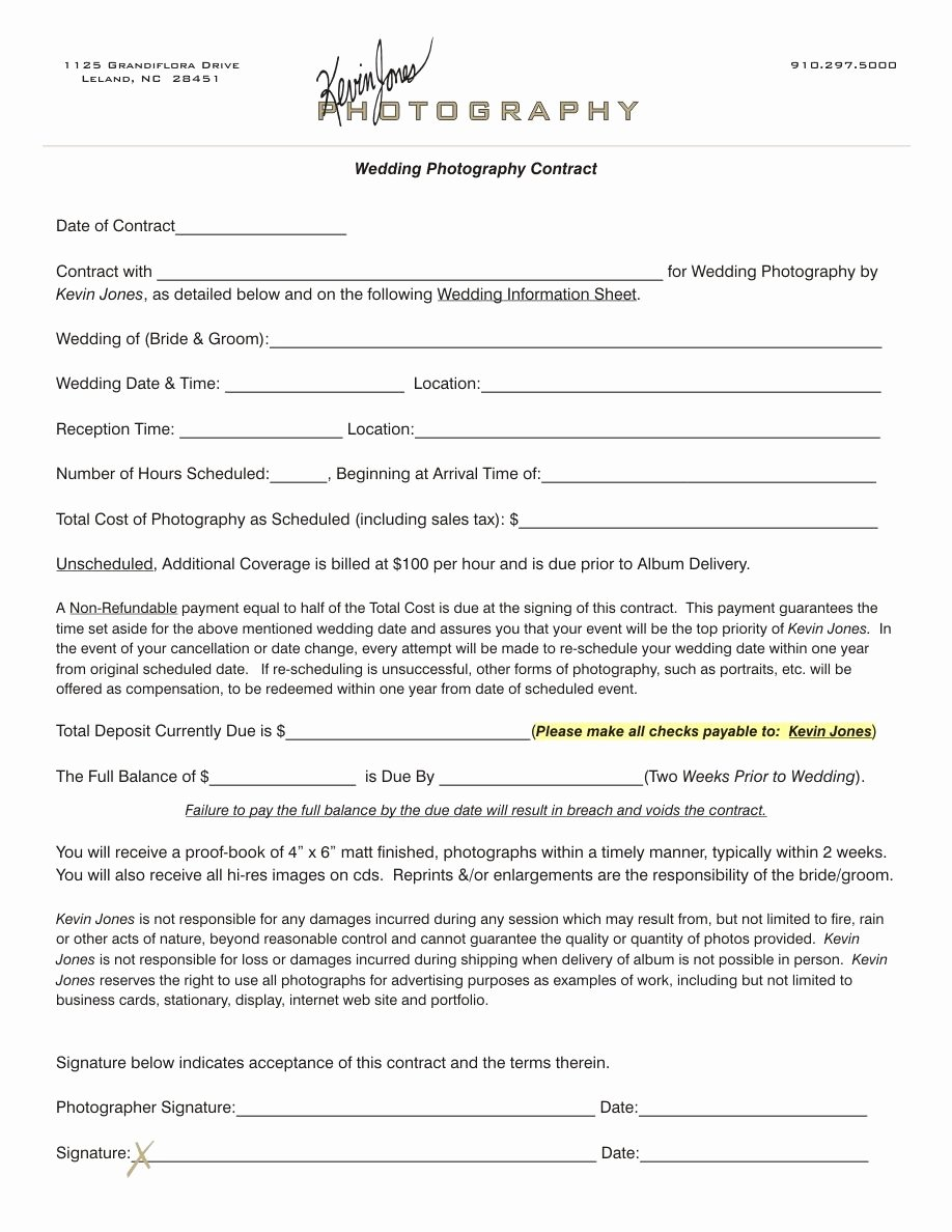 Wedding Photography Contract Pdf Fresh Wedding Photography Contract Kevin Jones Graphy Contract Graphy