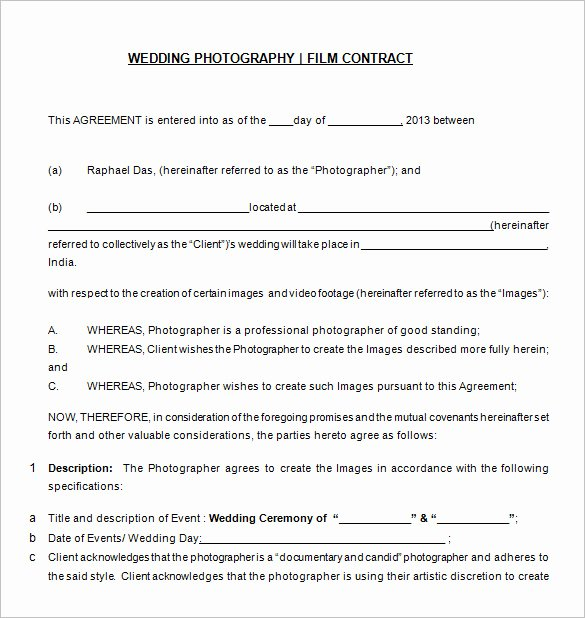 Wedding Photography Contract Pdf Lovely Graphy Contract Template – 10 Free Word Pdf Documents Download