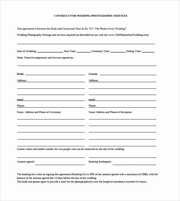 Wedding Photography Contract Pdf Lovely Sample Wedding Contract 25 Documents In Pdf Word