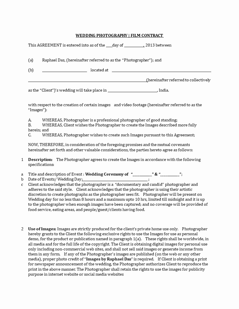 Wedding Photography Contract Pdf New Wedding Graphy Contract