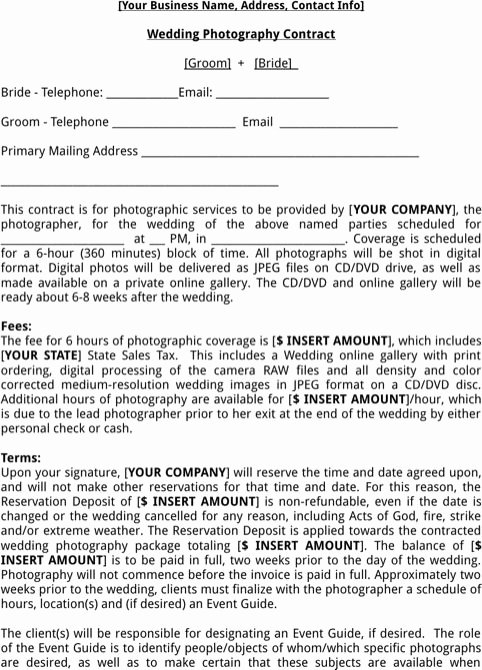 Wedding Photography Contract Pdf Unique Wedding Graphy Contract Template Templates&forms Pinterest