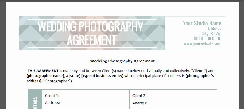 Wedding Photography Contract Pdf Unique Wedding Graphy Contract the Shoot Space