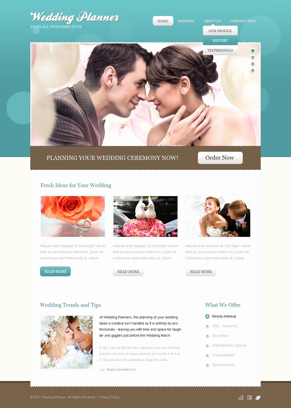 Wedding Planner Website Template Elegant Wedding Planner Website Template